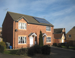 House with fitted solar cells